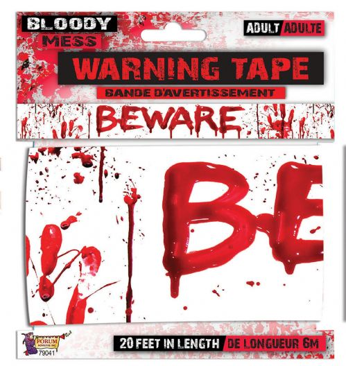 "Bloody ""Beware"" Warning Tape Bleeding Wound Vampire Party Favour"